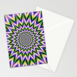 Spiky Pulse in Green Yellow Blue and Pink Stationery Cards