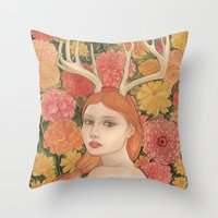 dahlia Throw Pillows featuring Dahlia by Marcela Badolatto