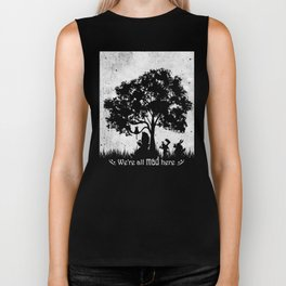 We're All Mad Here Alice In Wonderland Silhouette Art Biker Tank