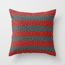 Christmas Simple seamless pattern Snow confetti on Grey and Red Stripes Background Throw Pillow