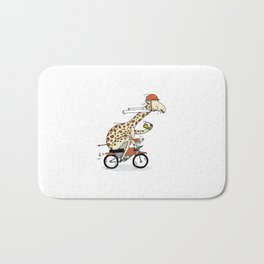 Giraffe on a motorbike eating a cheese sandwich... Bath Mat