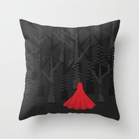 red riding hood Throw Pillows featuring Red Riding Hood by Imagonarium