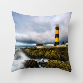 St. John's Point Lighthouse - Print  County Down, Northern Ireland.(RR 265) Throw Pillow