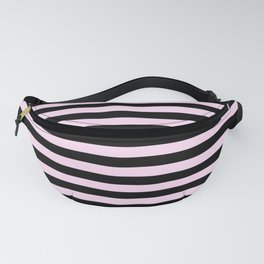 Pink Lace Pink and Black Horizontal Stripes Fanny Pack