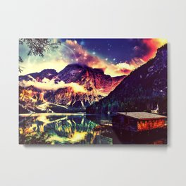 Night Sky at the lake Metal Print