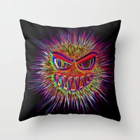 jojo Throw Pillows featuring Jojo the little Monster by MehrFarbeimLeben