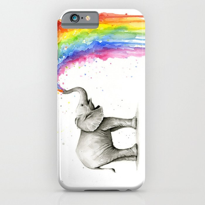 baby elephant spraying rainbow iphone case
