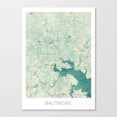 Baltimore Map Blue Vintage Canvas Print