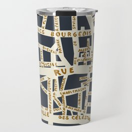 PARIS MAP GREY GOLD Travel Mug