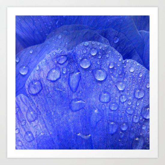 blue petal drops I Art Print