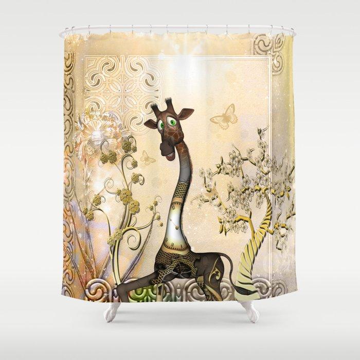 Funny Steampunk Giraffe Clocks And Gears Shower Curtain