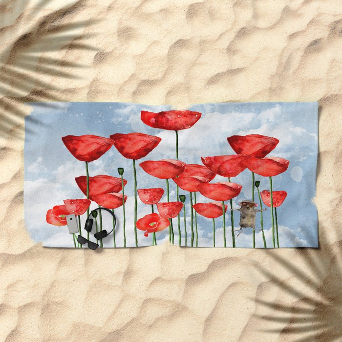 Mouse and poppies on a cloudy day Beach Towel