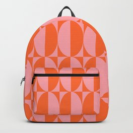 Mid Century Modern Geometric Half Oval Pattern 258 Orange and Pink Backpack