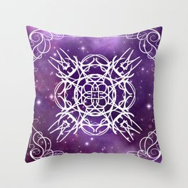 Ultra Violet Astrology Mandala Throw Pillow