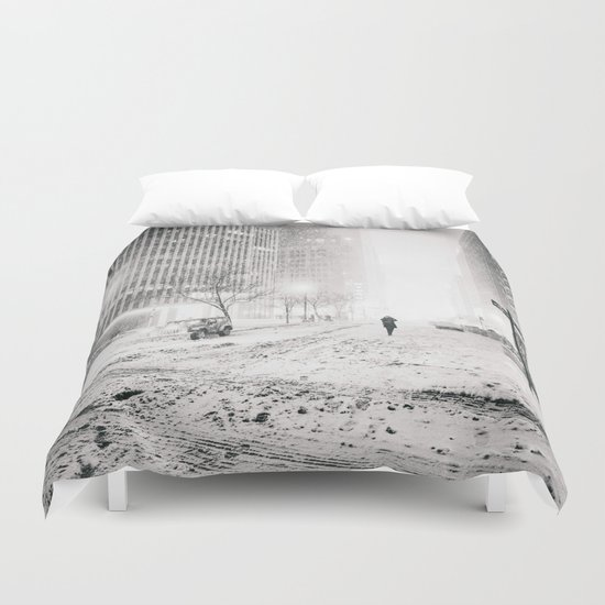 New York City Snow in Times Square Duvet Cover
