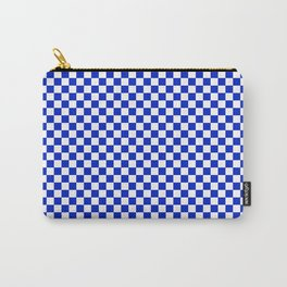 Small Cobalt Blue and White Checkerboard Pattern Carry-All Pouch