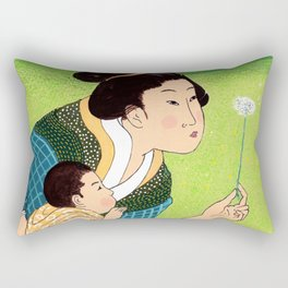 Mrs Hokusai Blows A Dandelion For The Baby Rectangular Pillow