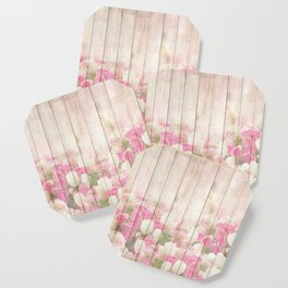 Beautiful Pink Tulip Floral Vintage Shabby Chic Coaster