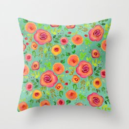 Colorful Watercolor Spring Flower Pattern Throw Pillow