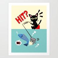 fishing Art Prints featuring Fishing by BATKEI