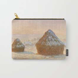 Wheatstacks, Snow Effect, Morning by Claude Monet Carry-All Pouch