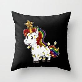 Christmas Unicorn Throw Pillow