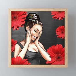 Retro Pinup Girl Laughing Red Daisy Flowers Framed Mini Art Print