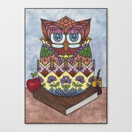 Whimscal Baby Owl in Egg School Theme Zendoodling Art Canvas Print