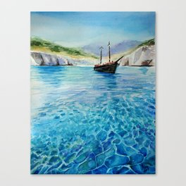 Shinning Ocean - Watercolor Landscape Art Canvas Print