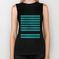 TEAL STRIPES AND ARROWS Biker Tank