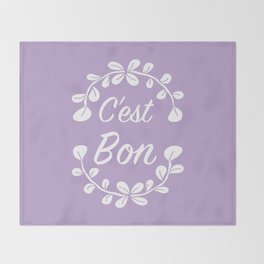 Inspirational French Quote with Leaves in Pastel Purple Throw Blanket