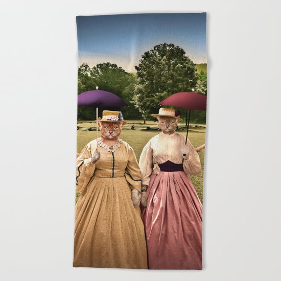 Two Pretty Kitties: Out for a Stroll Beach Towel
