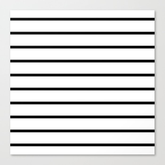 Thin Black Stripe Pattern Canvas Print