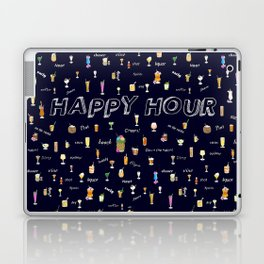 Happy Hour Cocktails and Brews on Dark Blue Laptop & iPad Skin