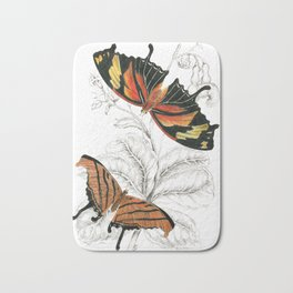 Scientific Colorful Butterfly Entomology Drawing Bath Mat