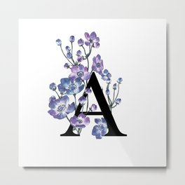 Letter 'A' Anemone Flower Typography Metal Print