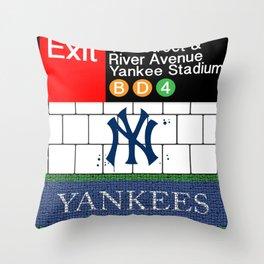 NYC Yankees Subway Throw Pillow