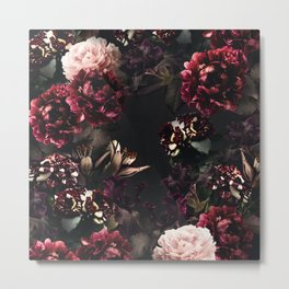 Vintage bouquets of garden flowers. Roses, dark red and pink peony.  Metal Print
