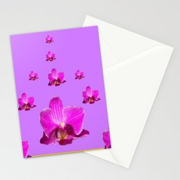 PURPLE ORCHID FLOWERS RAIN YELLOW ART Stationery Cards