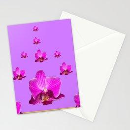 PURPLE ORCHID FLOWERS RAIN YELLOW ART Stationery Cards