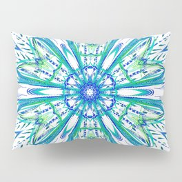 Blue and Green Snowflake Pillow Sham