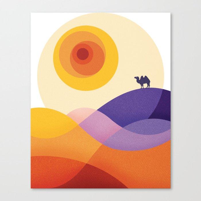 Sun, Desert, Waves of Sand and Camel Leinwanddruck