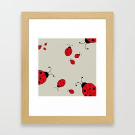 Ladybugs-Beige+Red Framed Art Print