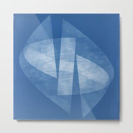 Blue & White Geometric Mid Century Modern Square Format Abstract Metal Print