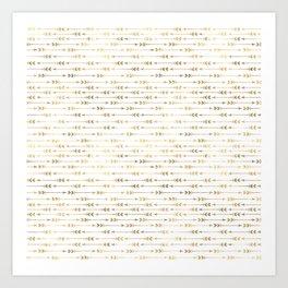 White & Gold Arrow Pattern Art Print