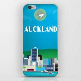 Auckland, New Zealand - Skyline Illustration by Loose Petals iPhone Skin