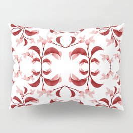 Floral Print Modern Pattern in Red and White Tones Pillow Sham