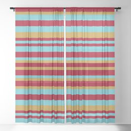 Golden, Red Wine and Turquoise Vintage Stripes Sheer Curtain