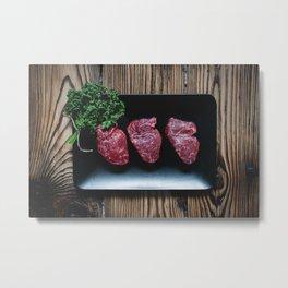Raw Beef Steaks Metal Print