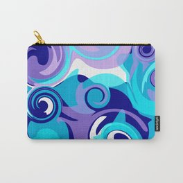 Finger Paint Swirls in Turquoise, Lavender, Purple, Navy Carry-All Pouch